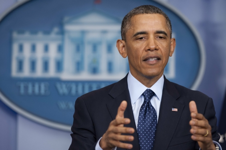 <p>US President Barack Obama speaks to the media about sequestration in the Brady Press Briefing Room at the White House in Washington, DC, March 1, 2013 following a meeting with US Speaker of the House John Boehner and Congressional leaders.</p>
