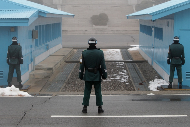 <p>South Korean soldiers stand guard at the border village of Panmunjom between South and North Korea at the Demilitarized Zone (DMZ) on Feb. 27, 2013 in South Korea.</p>