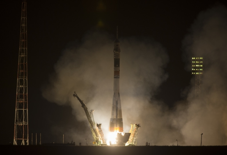 <p>The Soyuz TMA-08M rocket launches from the Baikonur Cosmodrome in Kazakhstan on March 29, 2013. Five hours and 45 minutes later, the capsule was at the International Space Station.</p>
