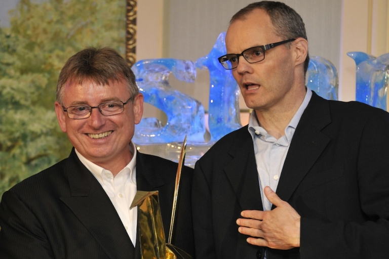 <p>Frits van Paasschen (R), president and CEO of luxury hotel chain Starwood Hotels and Resort and Lothar Richard Pehl, the manager of Japanese operations, in Tokyo on July 12, 2011.</p>
