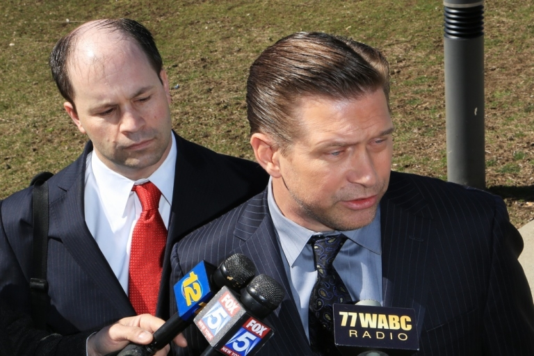 <p>NEW CITY, NY - MARCH 29:  Attorney Russell Yankwitt (L) and client Stephen Baldwin (R) address the media after Baldwin after pleaded guilty to a charge of repeated failure to file income taxes at Rockland County Courthouse on March 29, 2013 in New City, New York.</p>