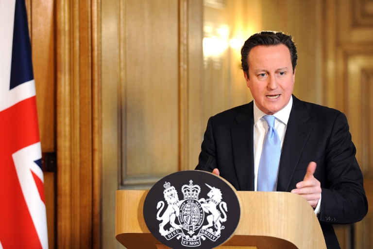 <p>British Prime Minister David Cameron speaks during a press conference at 10 Downing Street on March 14, 2013, in London, England. Cameron has reiterated his interest in working with the European Union to help battle the economic crisis facing Europe.</p>