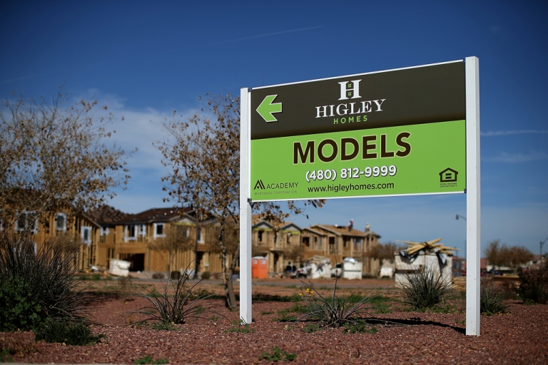 <p>New homes under construction at a housing development in Gilbert, Ariz., are seen in this photo on March 6, 2013. In 2008, Phoenix was at the forefront of the United States housing crisis, but now the city is now undergoing a housing boom as sale prices have surged 22.9 percent, the highest price increase in the nation.</p>