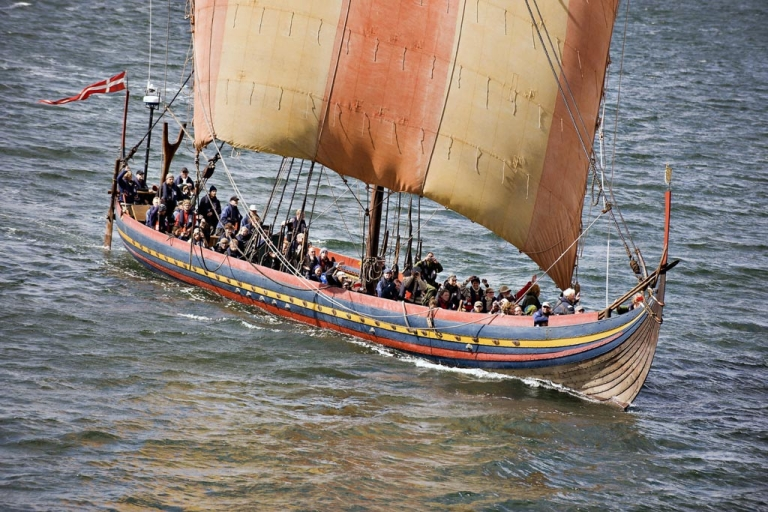 <p>The Viking longship Sea Stallion of Glendalough sails through the Limfjorden in Northern Jutland on Aug. 3, 2008, after its journey across the North Sea.</p>