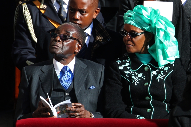 <p>Zimbabwe President Robert Mugabe and his wife Grace attend the Inauguration Mass for Pope Francis in St Peter's Square on March 19, 2013 in Vatican City, Vatican. Meanwhile, Zimbabweans voted overwhelmingly in favor of a new constitution that limits the powers of the presidency.</p>