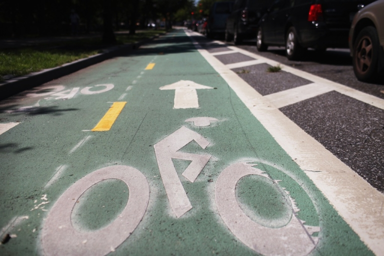 <p>NEW YORK, NY - AUGUST 17: A controversial bike lane next to Prospect Park on August 17, 2011 in New York City. (Spencer Platt/Getty Images)</p>