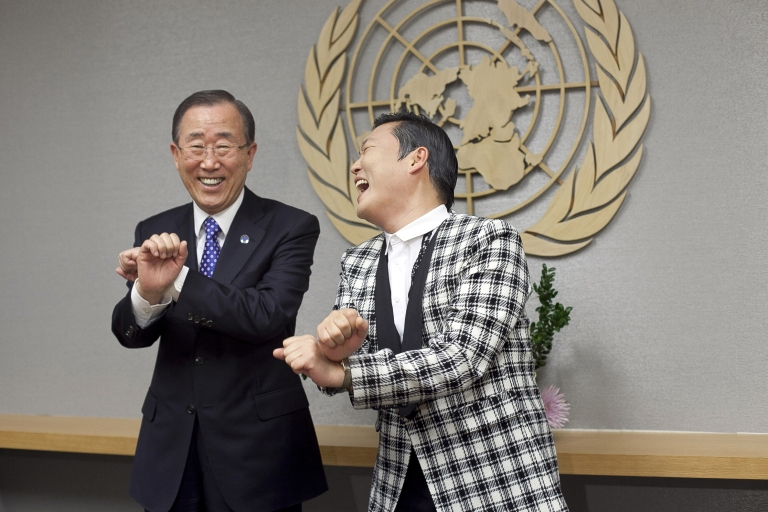 <p>Psy teaches fellow a Korean, United Nations Secretary General Ban Ki-moon, a few dance moves at the UN headquarters on October 23, 2012 in New York City.</p>