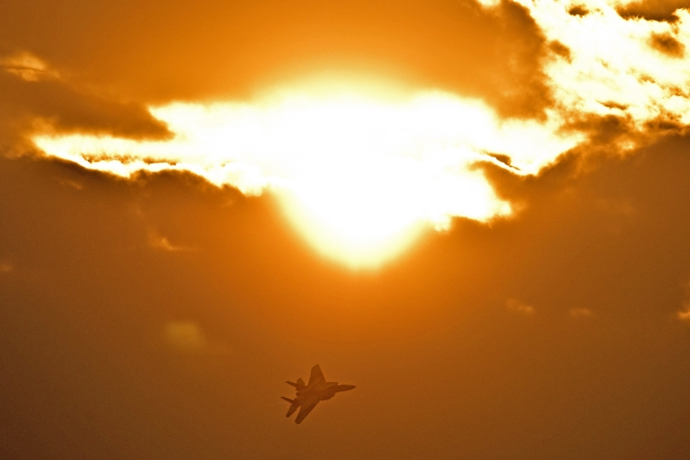 <p>An F-15 I fighter jet flies during an air show in the Negev desert, near the southern Israeli city of Beersheva, on December 27, 2012.</p>