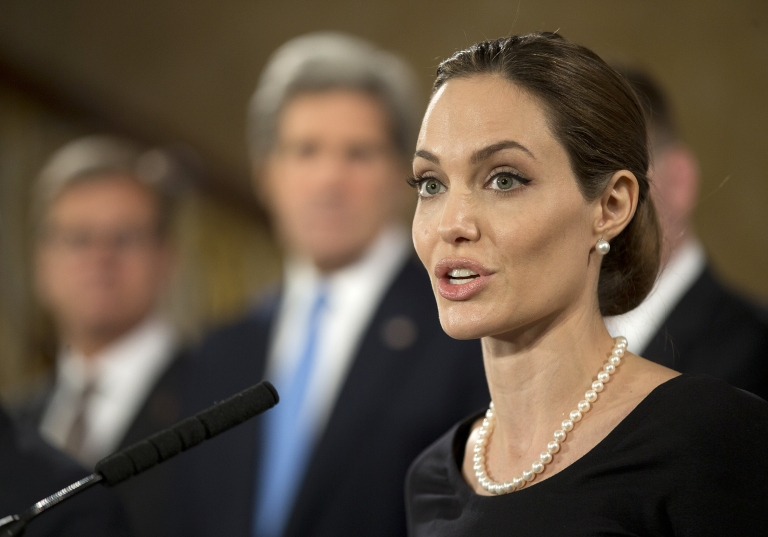 <p>Angelina Jolie speaks at a G8 Foreign Ministers press conference on sexual violence against women in London on April, 11, 2013.</p>