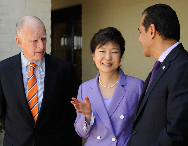<p>South Korean President Park Geun-hye attends a welcoming luncheon with California Governor Jerry Brown and Los Angeles Mayor Antonio Villaraigosa at Getty House on May 9, 2013 in Los Angeles, California.</p>