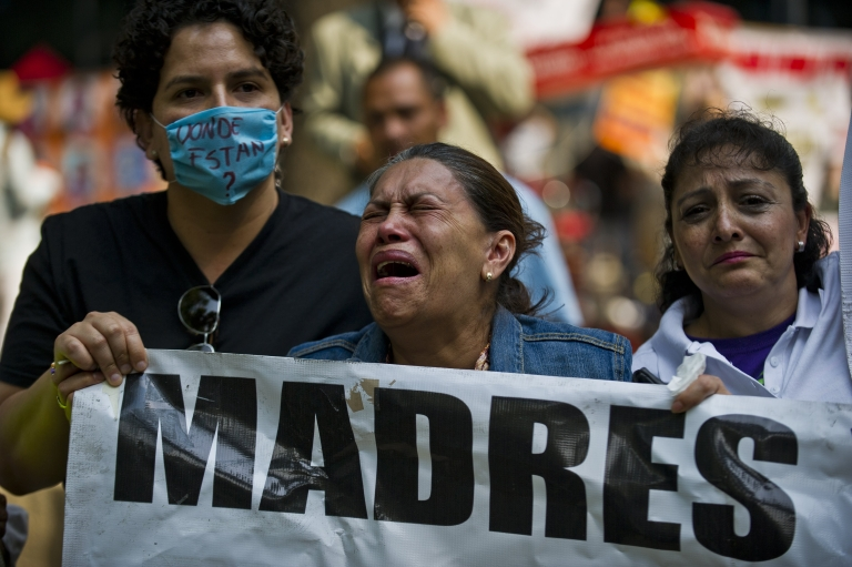 <p>Mothers in Mexico City are outraged in a protest on Mother's Day demanding the government help find their disappeared children.</p>