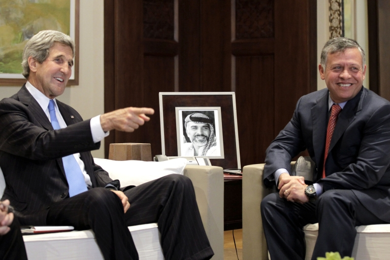 <p>US Secretary of State John Kerry meets with Jordan's King Abdullah II at the Royal Palace on May 22, 2013 in the Jordanian capital Amman. Backers of the Syrian uprising are meeting in Amman to discuss a US-Russian proposal for peace talks, as the brutal two-year conflict escalates close to the border with Lebanon.</p>