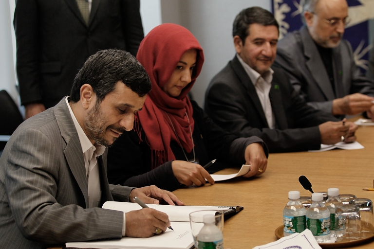 <p>Iranian president Mahmoud Ahmadinejad (L) during the Nuclear Non-Proliferation Treaty Review Conference in 2010.</p>