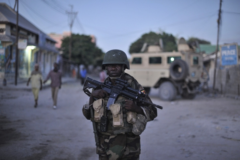 <p>An African Union Mission soldier in Somalia on patrol in Mogadishu, Somalia, on May 25, 2013.</p>