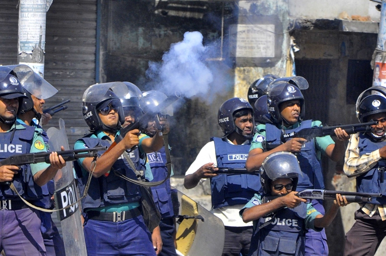 <p>Police used tear gas and rubber bullets to disperse a Islamist protest. At least 15 people are reported to have been killed and more than 60 hurt in the clashes in the Bangladeshi capital, Dhaka.</p>