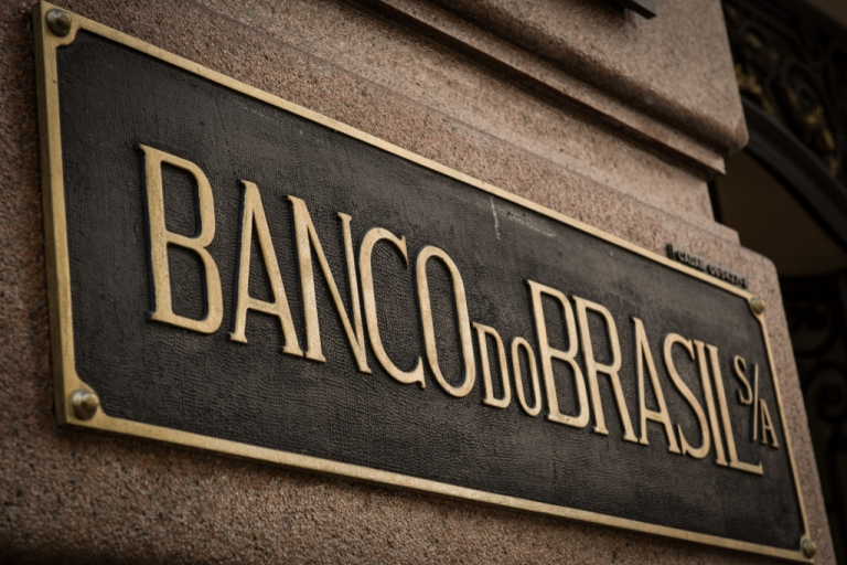 <p>A plate reading Banco do Brasil (Bank of Brazil) is seen at the entrance of the institution in Sao Paulo, Brazil, on April 26, 2013.</p>
