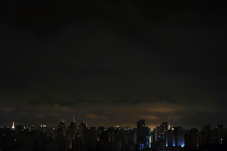 <p>The dark Sao Paulo skyline is etched in light by antennas atop buildings. Brazil's supercharged growth has led analysts to caution for possible signs of trouble looming.</p>