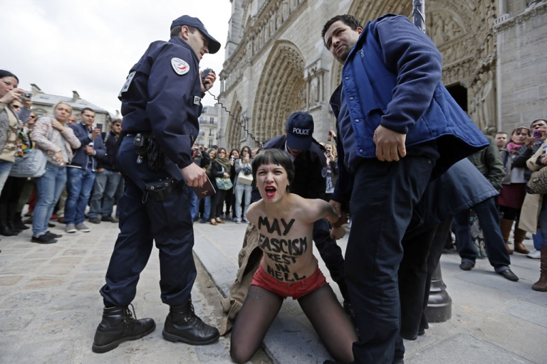 <p>A member of Femen, with