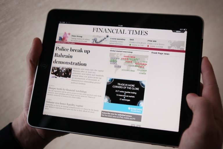 <p>The Financial Times website and Twitter feeds were hacked on Friday. The Syrian Electronic Army claimed responsibility. In this photo illustration, a man looks at The Financial Times app on an Apple iPad tablet.</p>