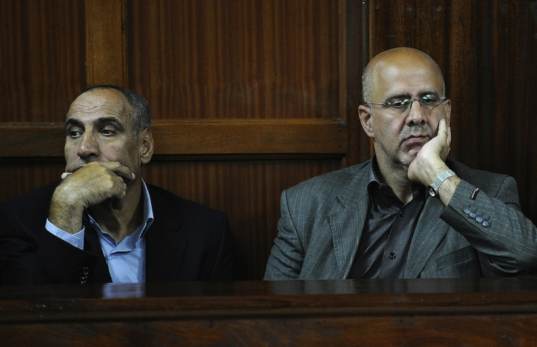 <p>Iranian nationals Sayed Mansour Mousavi (L) and Ahmad Abolfathi Mohammed in court during their trial in Nairobi, Kenya on May 6, 2013.</p>