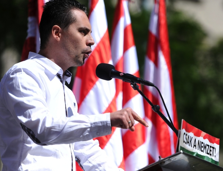 <p>Chairman of the nationalist party of the Hungarian Parliament, the JOBBIK's, Gabo Vona delivers a speech during a demonstration of the nationalist party in Budapest.</p>