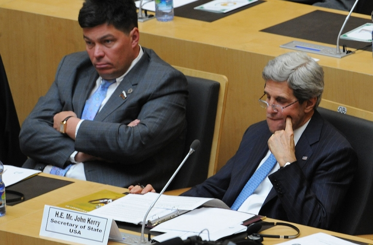 <p>US Secretary of State John Kerry (R) attends the 50th African Union Aniversary Summit in Addis Ababa on May 25, 2013, with Africa's myriad problems set aside for a day to mark the progress that has been made. Today's 54-member AU is the successor of the Organisation of African Unity (OAU), established amid the heady days as independence from colonial rule swept the continent in 1963.</p>