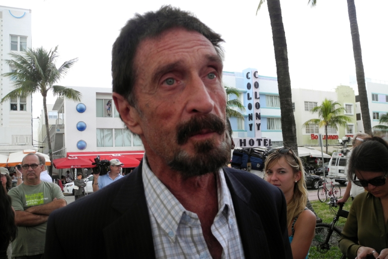 <p>Software company founder John McAfee talks to AFP in front of this hotel in Miami Beach, Florida on Dec.13, 2012.</p>