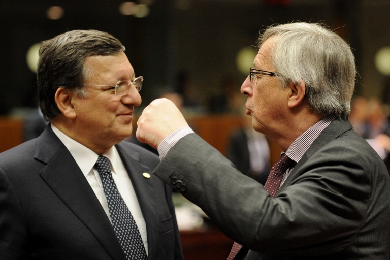 <p>European Commission President Jose Manuel Barroso (L) with Luxembourg's Jean-Claude Juncker during the EU summit on Wednesday. Barroso has urged EU countries to support the full automatic exchange of earnings data.</p>
