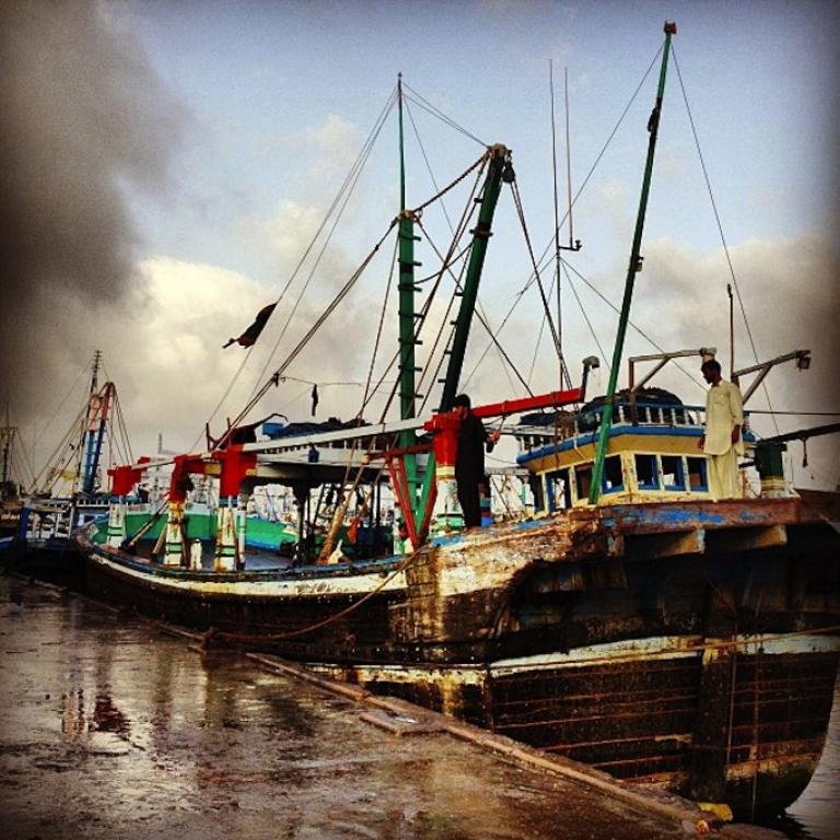 <p>A vessel in the Port of Karachi. (Instagram/Mariya Karimjee)</p>
