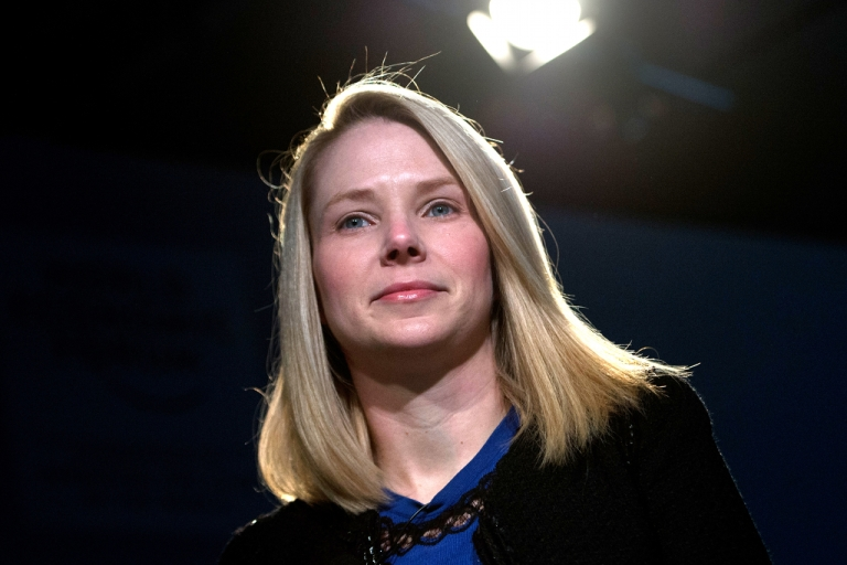 <p>Marissa Mayer, CEO of Yahoo, attends a session of the World Economic Forum 2013 Annual Meeting on Jan. 25, 2013.</p>