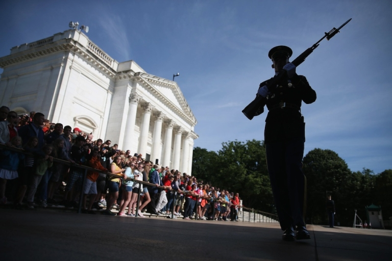 <p>A member of the US Army Old Guard stands guard at the Tomb of the Unknowns at Arlington National Cemetery on May 27, 2013 in Arlington, Virginia.</p>