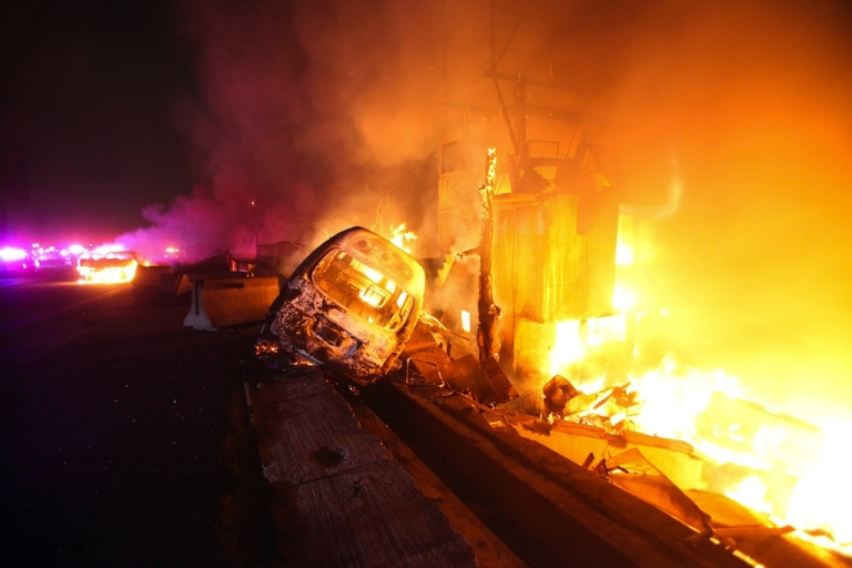 <p>A gas tanker exploded into a ball of flames in a suburb of Mexico City on May 7, 2013, killing at least 19 people and injuring three dozen others. Vehicles and houses near the scene of the accident also caught fire.</p>