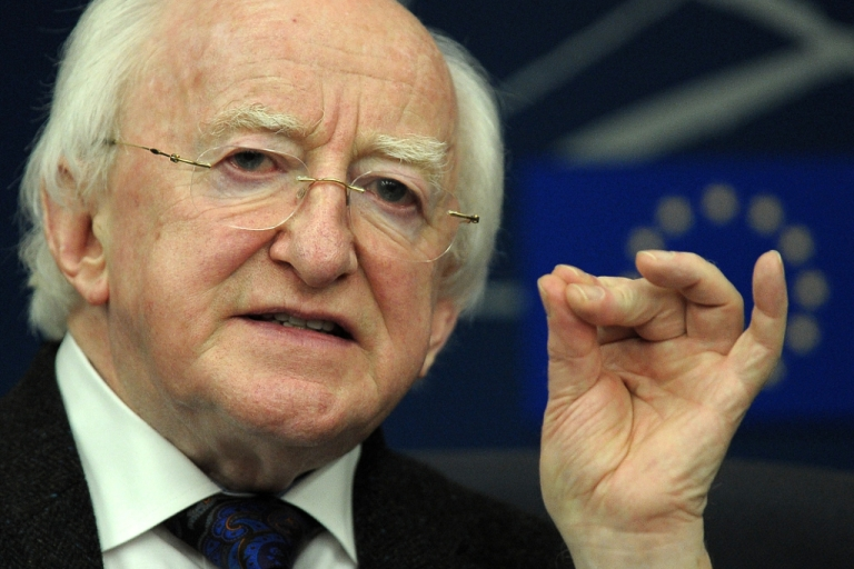 <p>Irish President Michael D. Higgins attends a press conference on April 17, 2013 at the European Parliament in Strasbourg, eastern France.</p>