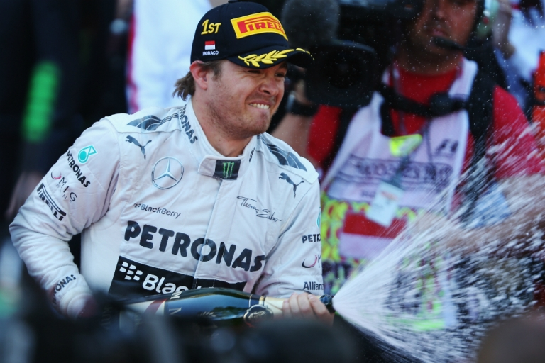 <p>Nico Rosberg of Germany and Mercedes GP celebrates after winning the Monaco Formula One Grand Prix at the Circuit de Monaco on May 26, 2013 in Monte-Carlo, Monaco.</p>