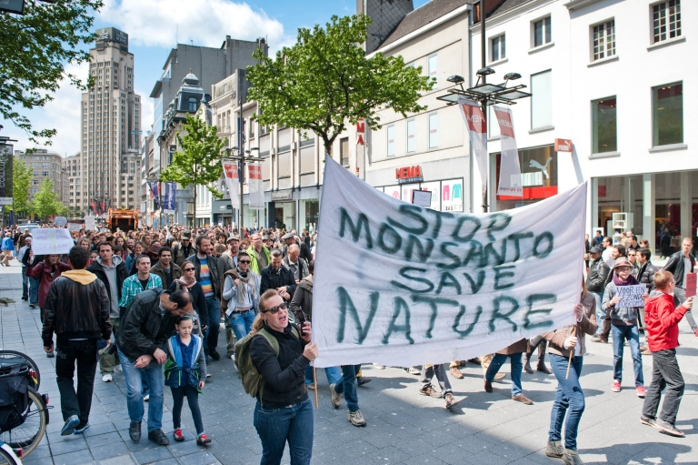 <p>Protesters march on the Meir in Antwerp, Belgium, during a demonstration against American multinational agricultural biotech company Monsanto on May 25, 2013.</p>