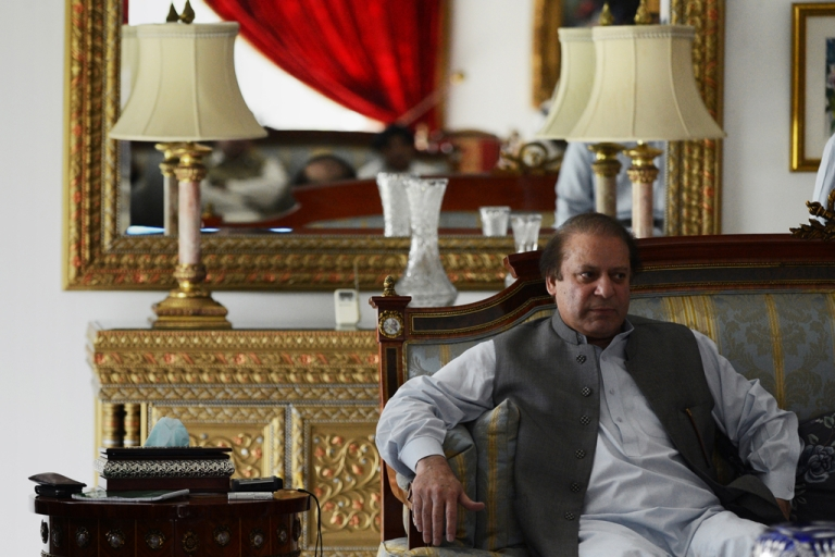 <p>Pakistan's incoming prime minister Nawaz Sharif sits in a sofa in his farm home in Raiwind on the outskirts of Lahore on May 13, 2013.</p>
