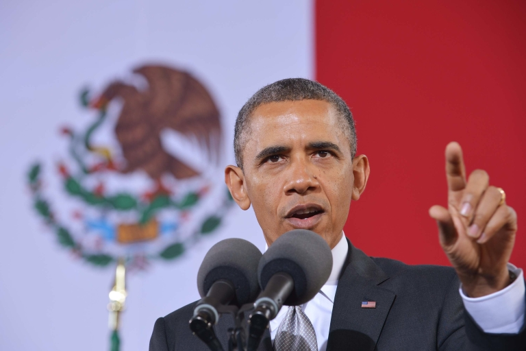 <p>US President Barack Obama speaks on at the National Anthropology Museum on May 3 in Mexico City.</p>