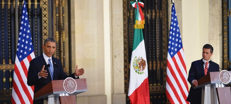 <p>US President Barack Obama (L) speaks during a joint press conference with Mexican President Enrique Pena Nieto at the National Palace in Mexico City on May 2, 2013. Obama landed in Mexico on Thursday at the start of a three-day trip that will also take him to Costa Rica, with trade, US immigration reform and the drug war high on the agenda.</p>