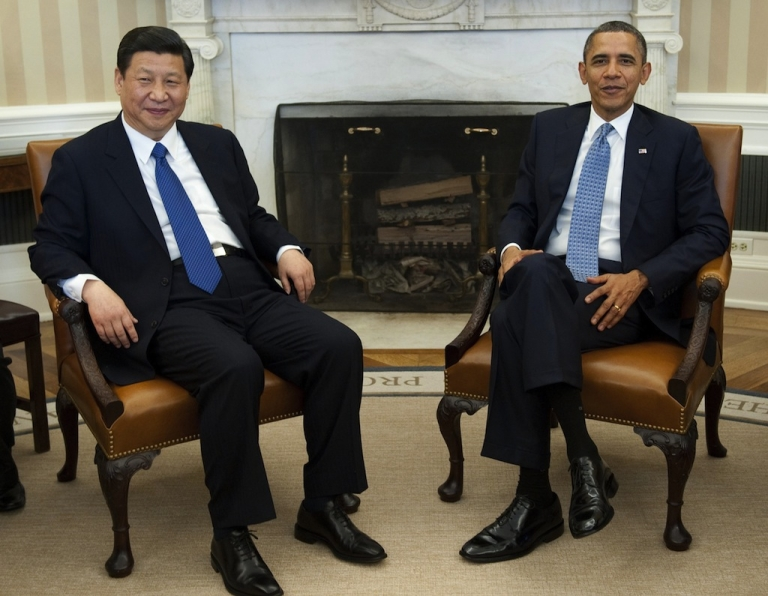 <p>US President Barack Obama and Chinese Vice President Xi Jinping speak during meetings in the Oval Office of the White House in Washington, DC, Feb. 14, 2012.</p>