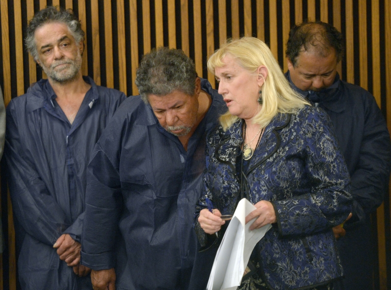 <p>MAY 09: (L-R) Onil Castro, Pedro Castro and Ariel Castro stand in the courtroom during Ariel's arraignment on rape and kidnapping charges May 9, 2013 in Cleveland, Ohio. Ariel Castro is accused of abducting Michelle Knight, Amanda Berry and Gina DeJesus and holding them for about 10 years.</p>