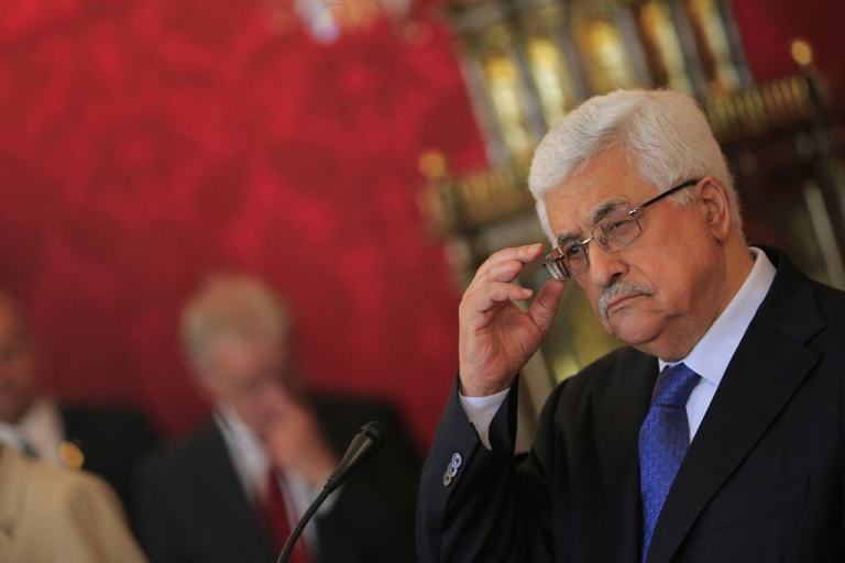 <p>Palestinian President Mahmoud Abbas gestures during a press conference April 30, 2013.</p>