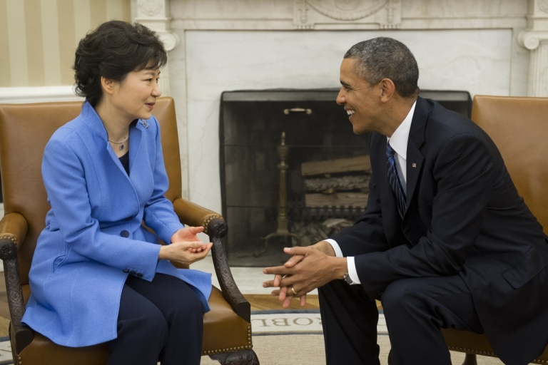 <p>US President Barack Obama meets with South Korean President Park Geun-hye in the Oval Office of the White House in Washington, DC, on May 7, 2013.</p>