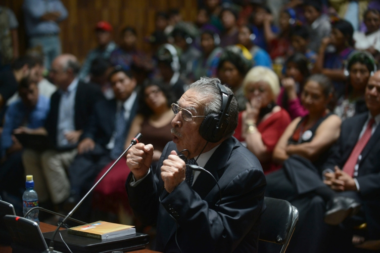 <p>Former Guatemalan dictator (1982-1983) retired Gen. Jose Efrain Rios Montt, 86, denies genocide charges in court May 9.</p>