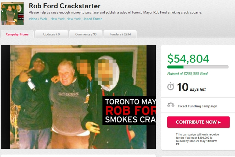 <p>Gawker.com is using crowdsourcing website Indiegogo to raise $200,000 for a video that supposedly shows Toronto Mayor Rob Ford smoking crack cocaine.</p>