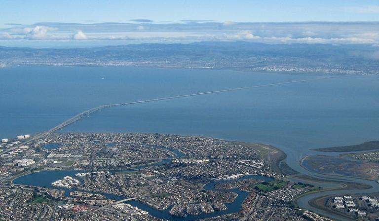 <p>Aerial view of San Mateo-Hayward bridge in California.</p>