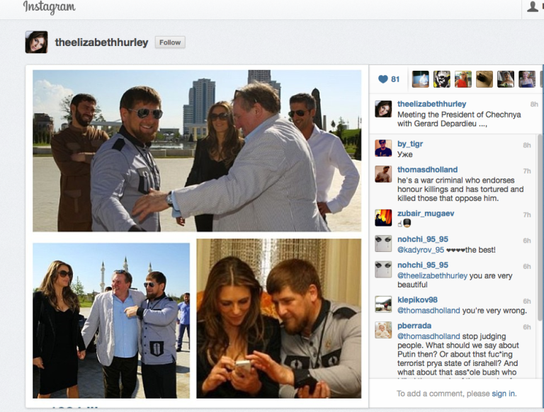 <p>A screengrab from the Instagram page of British actor Elizabeth Hurley, meeting Chechen strongman and accused human rights abuser Ramzan Kadyrov.</p>