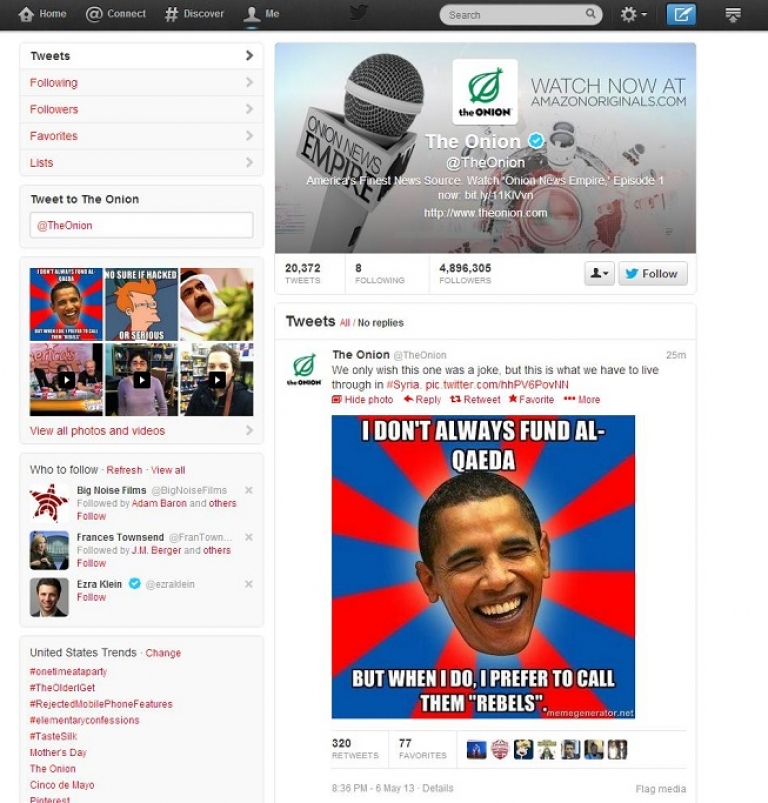 <p>The Onion's Twitter timeline after it was hacked by the Syrian Electronic Army. The photo tweeted by the hackers is a meme style picture featuring the face of President Barack Obama stating,