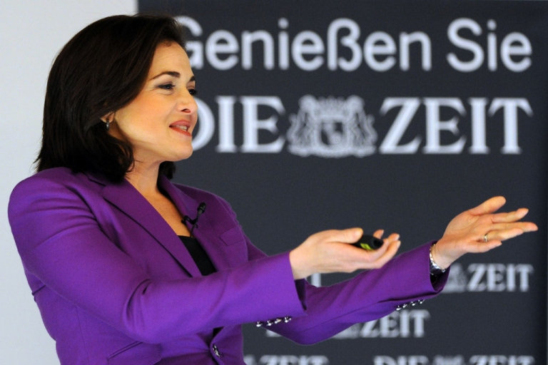 <p>Facebook COO Sheryl Sandberg delivers a speech at the Women in Leading Positions conference in Hamburg, Germany, on April 18, 2013.</p>