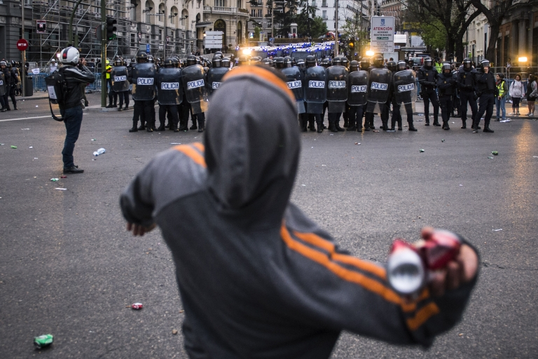 <p>No end in sight. Spanish protesters mare marking two years of the indignados movement this month.</p>