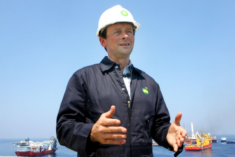 <p>Former CEO of BP Tony Hayward stands on the deck of the Discover Enterprise drill ship during recovery operations May 28, 2010 in the Gulf of Mexico.</p>
